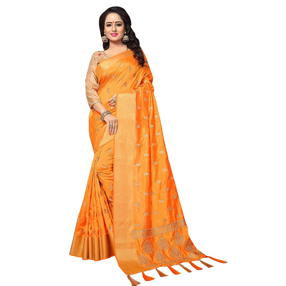 Amazing Orange Colored Festive Wear Woven Work Silk Saree