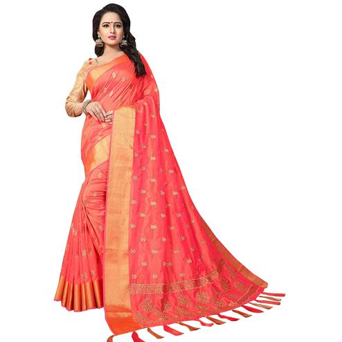 Exotic Peach Colored Festive Wear Woven Work Silk Saree