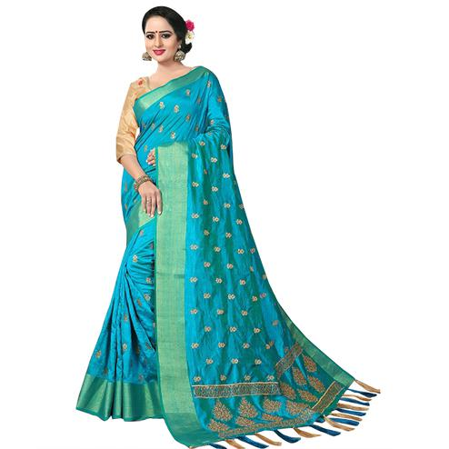 Majesty Sky Blue Colored Festive Wear Woven Work Silk Saree