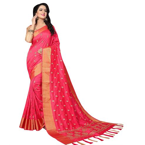 Preferable Pink Colored Festive Wear Woven Work Silk Saree