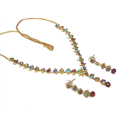 Golden Rainbow Stone Necklace Set