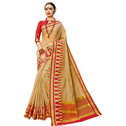 Pleasant Beige Colored Festive Wear Woven work Art Silk Saree