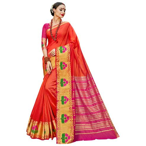 Unique Dark Orange Colored Festive Wear Woven work Art Silk Saree