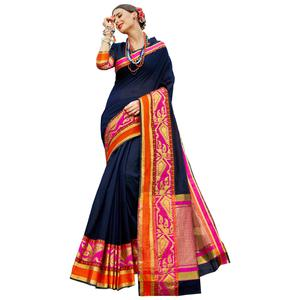 Refreshing Navy Blue Colored Festive Wear Woven work Art Silk Saree