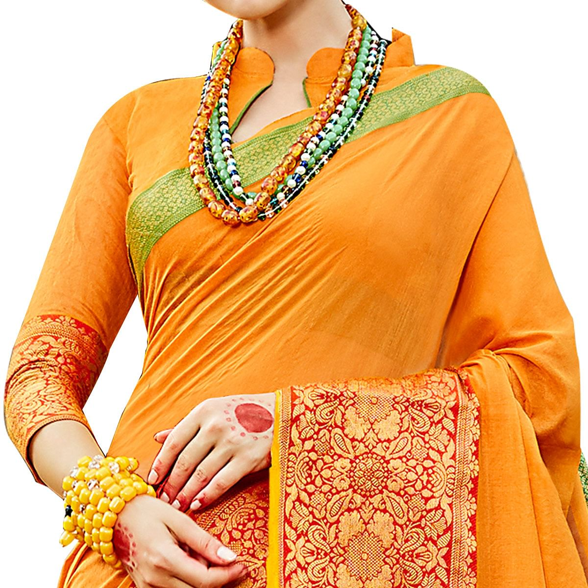 Elegant Mustard Yellow Colored Festive Wear Woven work Art Silk Saree