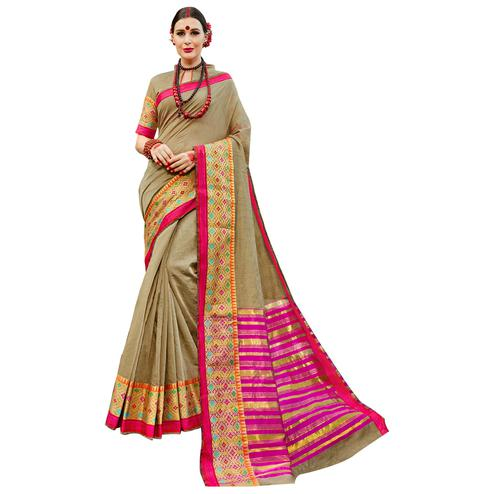 Radiant Olive Green Colored Festive Wear Woven work Art Silk Saree
