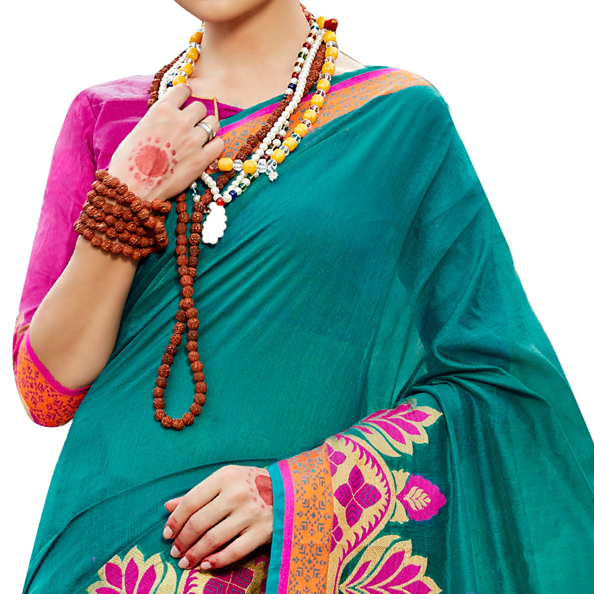 Sensational Teal Green Colored Festive Wear Woven work Art Silk Saree