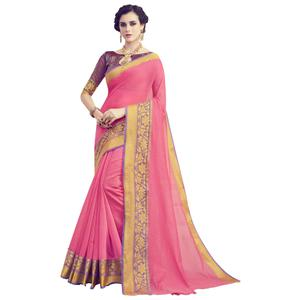 Opulent Light Pink Colored Festive Wear Woven work Art Silk Saree