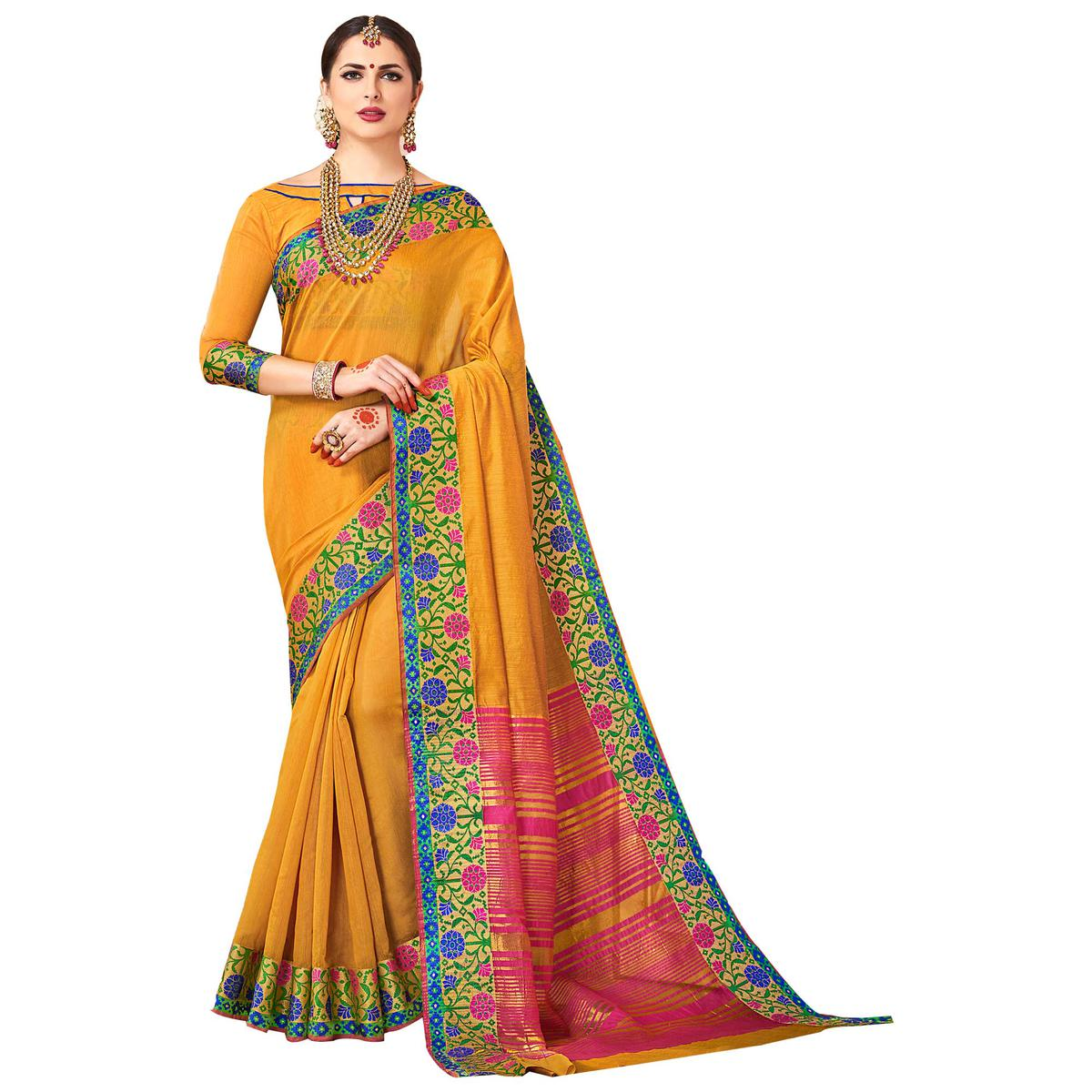 Flattering Mustard Yellow Colored Festive Wear Woven work Art Silk Saree