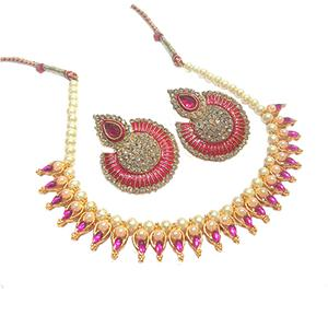 Dark Pink Tilak Meenakari Pearl Necklace Set