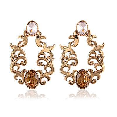 Fancy Golden Stone Designer Dangle Earrings