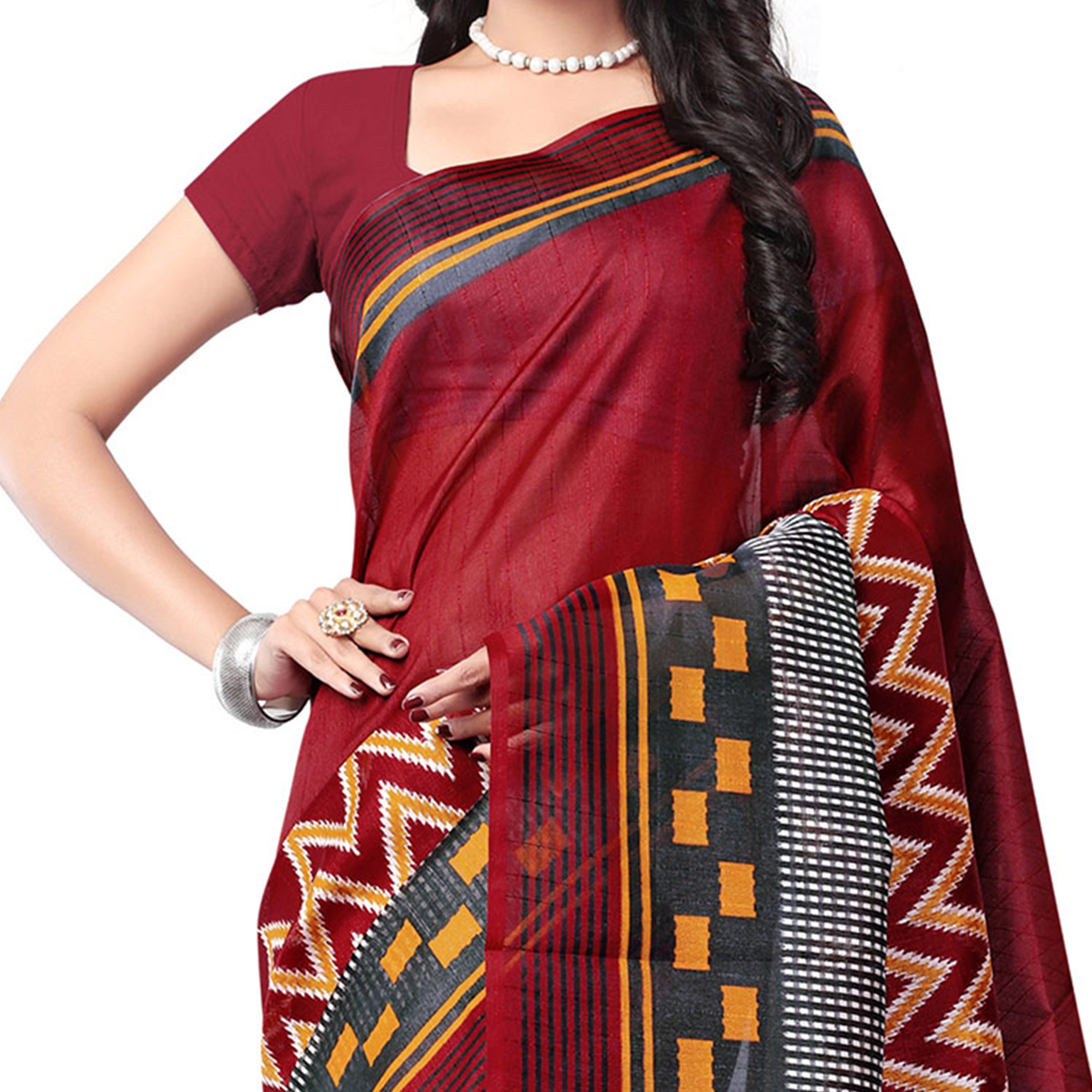 Maroon Office Wear Printed Saree