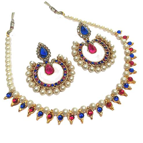 Pink - Blue Round Stone Pearl Necklace Set