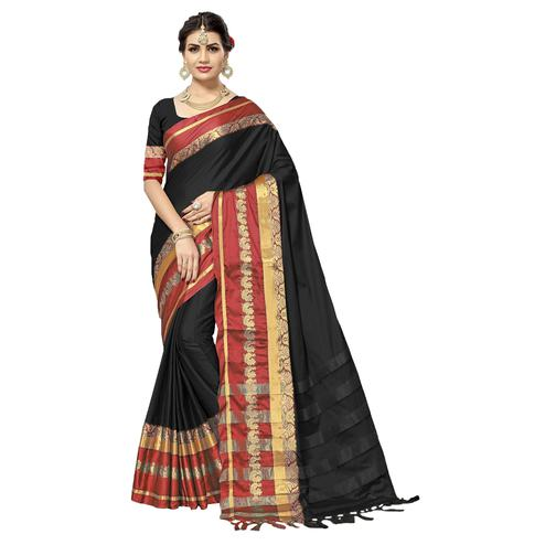 Adorable Black Colored Festive Wear Cotton Silk Saree