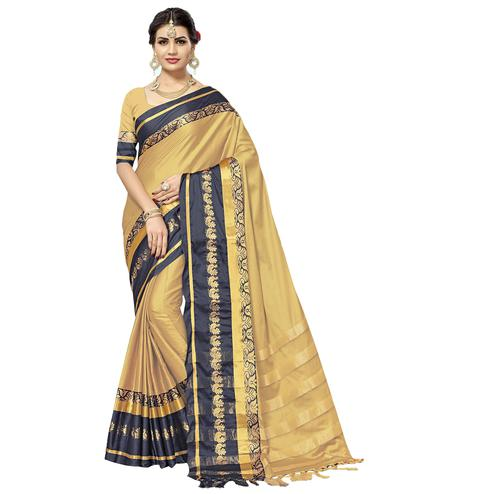 Attractive Chiku Colored Festive Wear Cotton Silk Saree