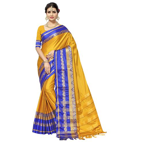 Gorgeous Yellow Colored Festive Wear Cotton Silk Saree