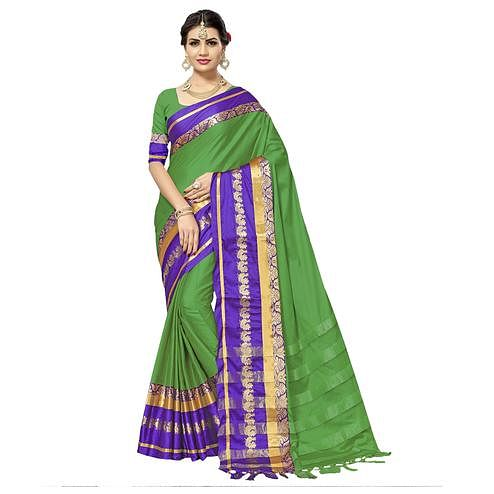 Beautiful Green Colored Festive Wear Cotton Silk Saree