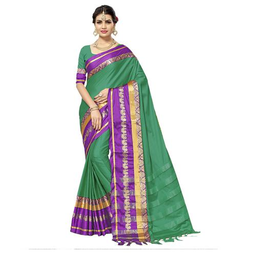 Graceful Rama Green Colored Festive Wear Cotton Silk Saree