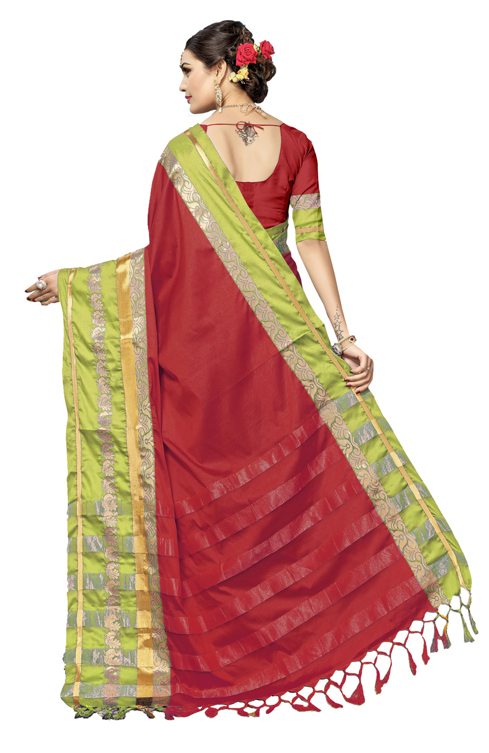 Charming Red Colored Festive Wear Cotton Silk Saree