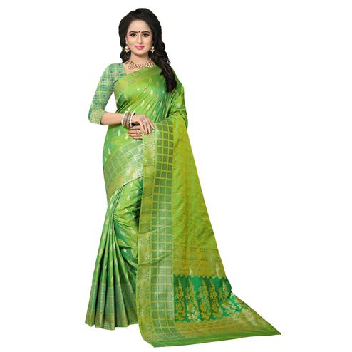 Elegant Green Colored Festive Wear Woven Banarasi Silk Saree