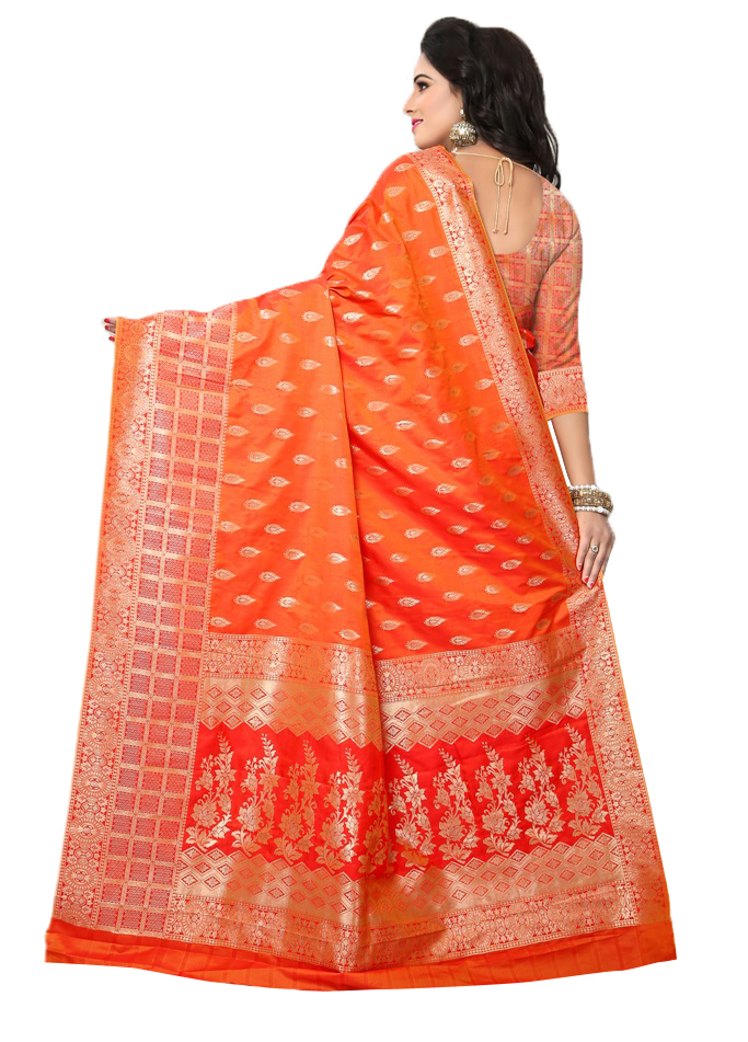 Traditional Orange Colored Festive Wear Woven Banarasi Silk Saree
