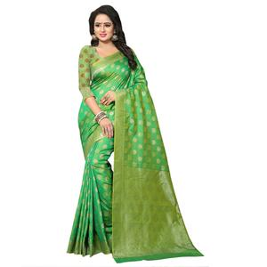 Glowing Green Colored Festive Wear Woven Banarasi Silk Saree
