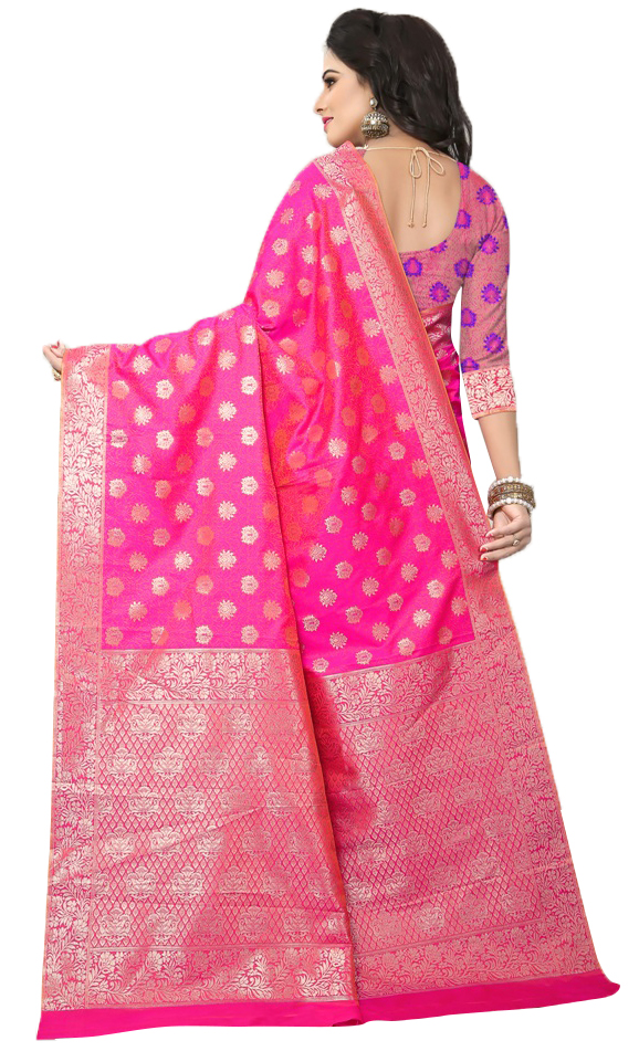 Pretty Pink Colored Festive Wear Woven Banarasi Silk Saree