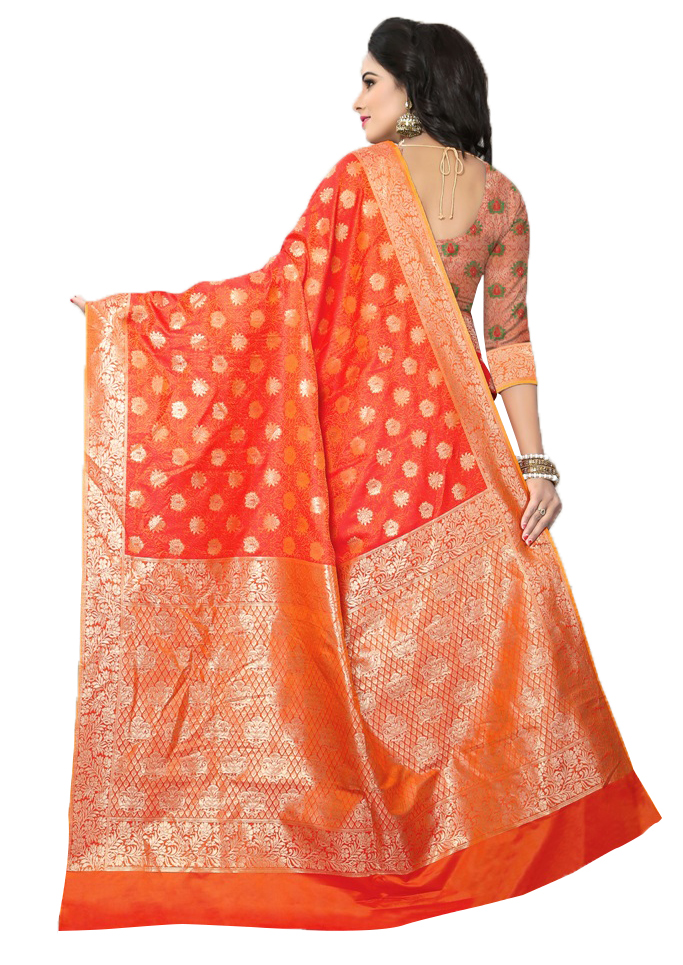 Attractive Orange Colored Festive Wear Woven Banarasi Silk Saree