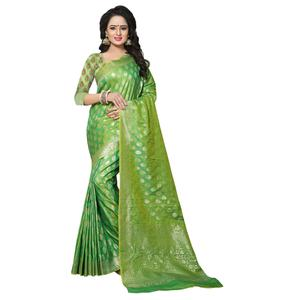 Impressive Green Colored Festive Wear Woven Banarasi Silk Saree