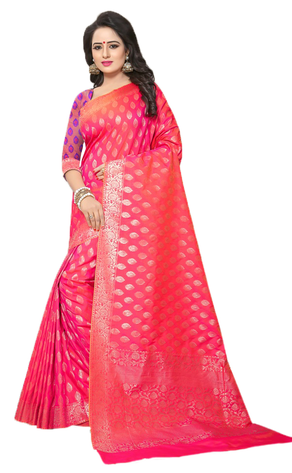 Refreshing Pink Colored Festive Wear Woven Banarasi Silk Saree