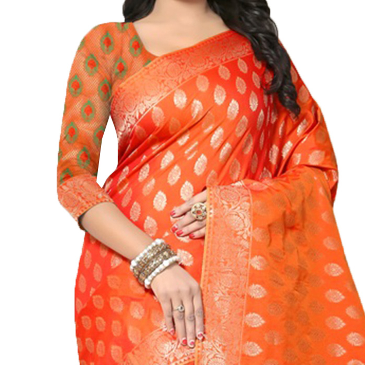 Mesmeric Orange Colored Festive Wear Woven Banarasi Silk Saree