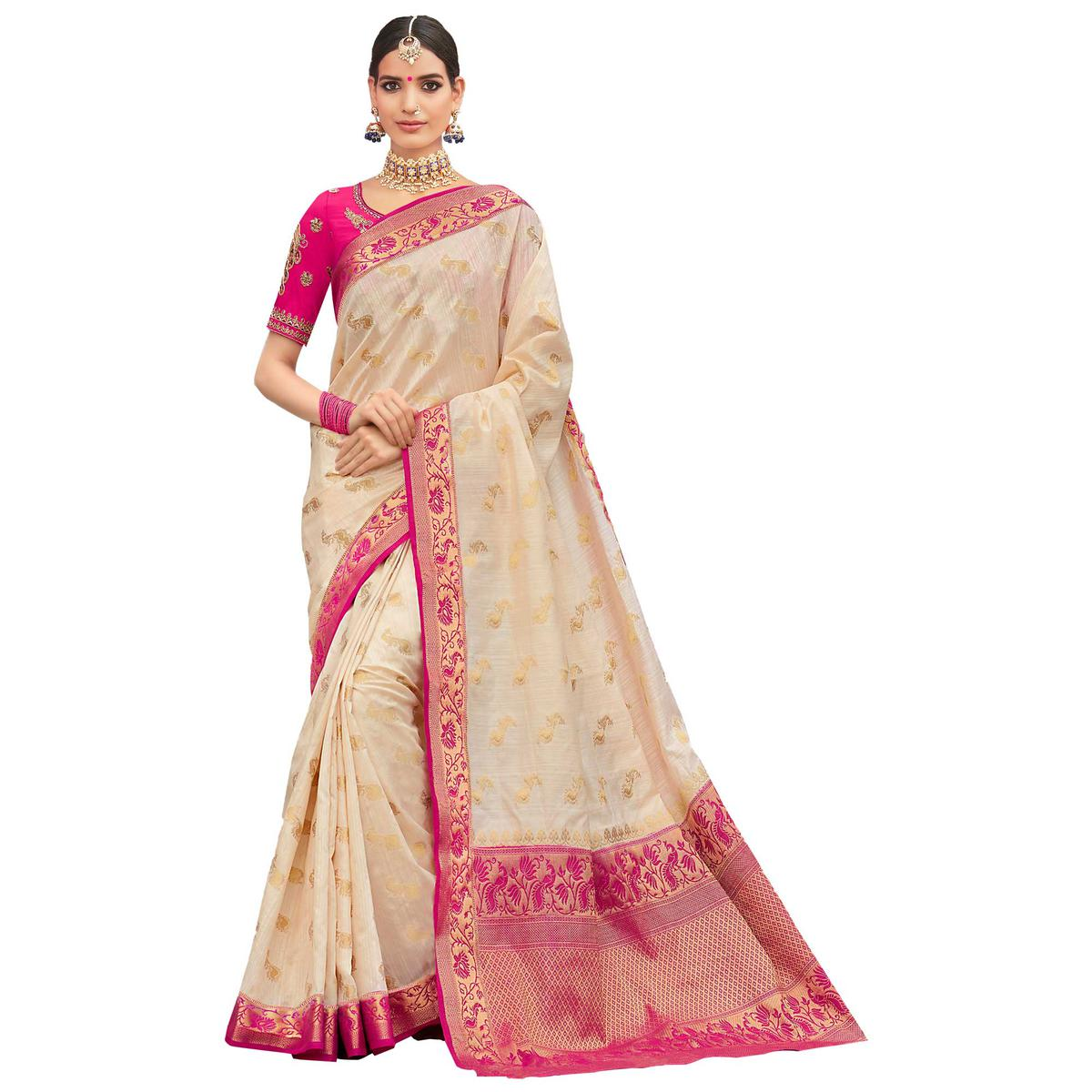Elegant White-Pink Colored Party Wear Designer Embroidered Woven Banarasi Silk Saree