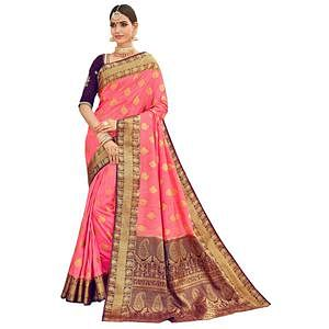 Mesmerising Pink-Wine Colored Party Wear Designer Embroidered Woven Banarasi Silk Saree