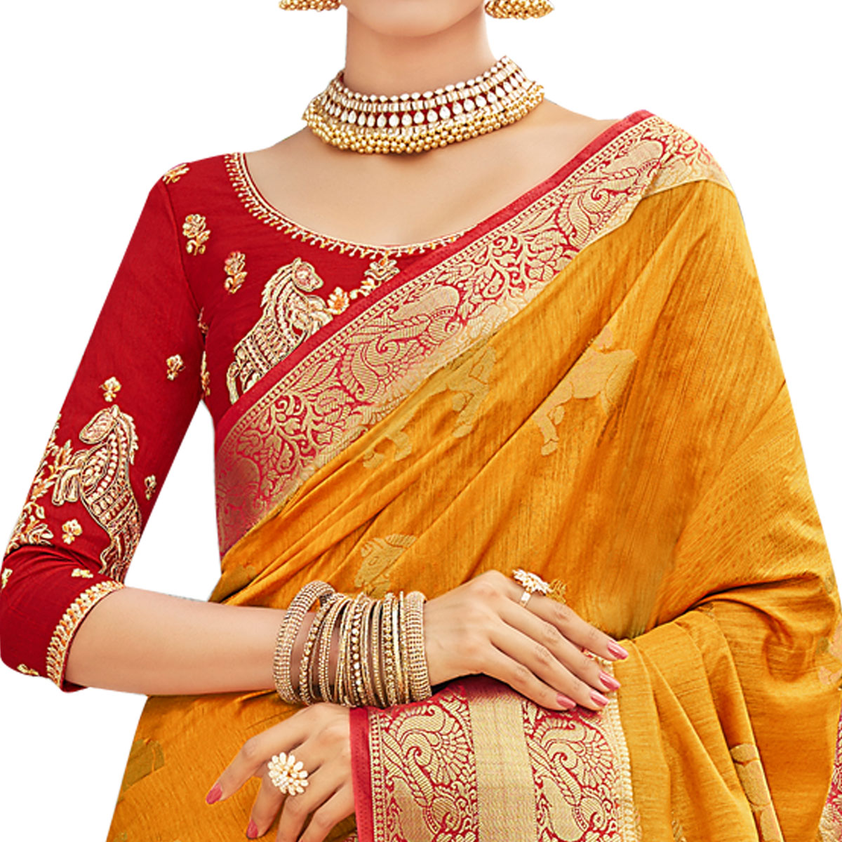 Glaring Yellow-Red Colored Party Wear Designer Embroidered Woven Banarasi Silk Saree