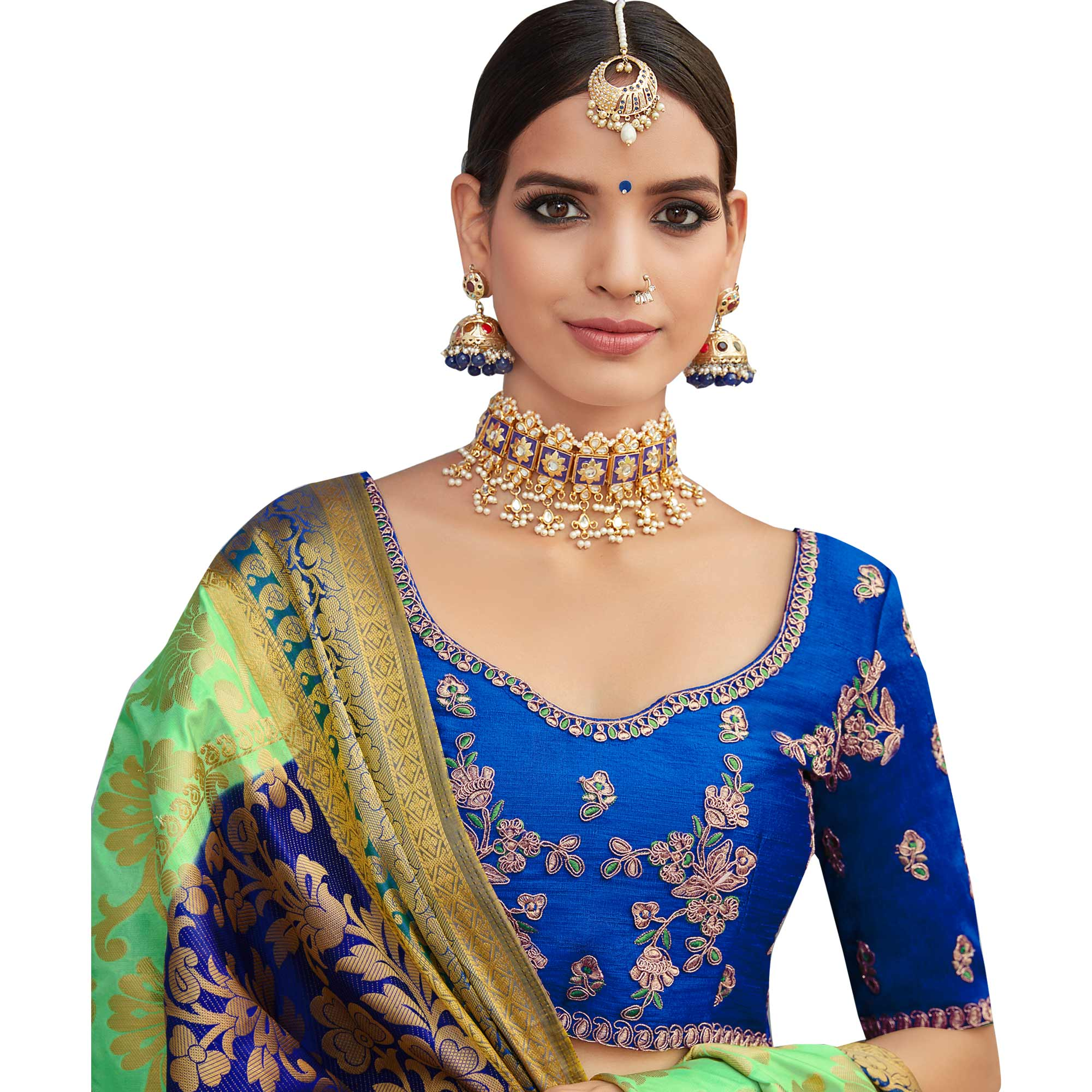 Ravishing Green-Blue Colored Party Wear Designer Embroidered Woven Banarasi Silk Saree