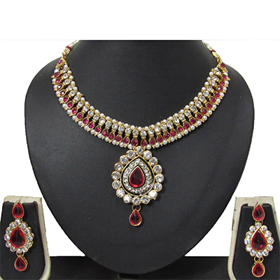 Dark Pink Necklace Set