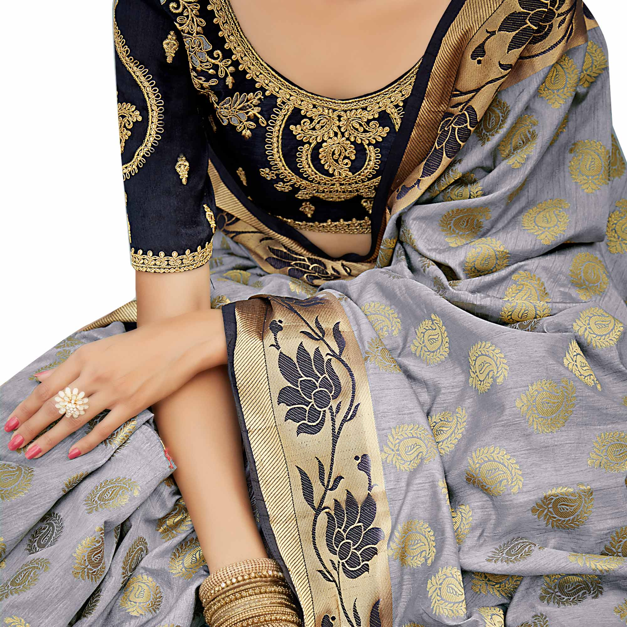 Majestic Grey-Black Colored Party Wear Designer Embroidered Woven Banarasi Silk Saree