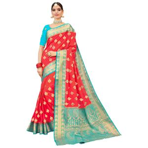 Adoring Red-Blue Colored Party Wear Designer Embroidered Woven Banarasi Silk Saree