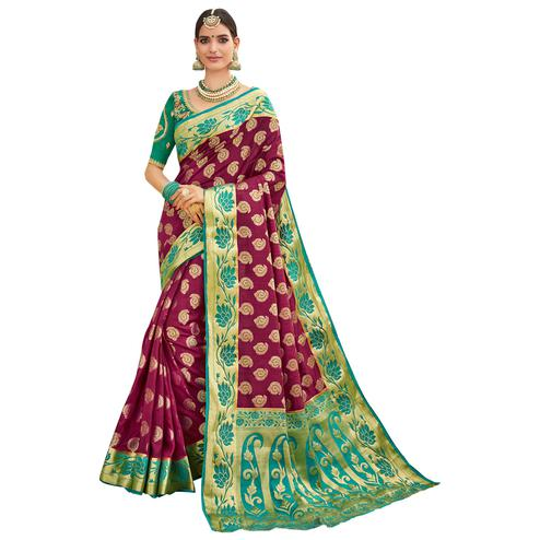 Magical Magenta-Green Colored Party Wear Designer Embroidered Woven Banarasi Silk Saree