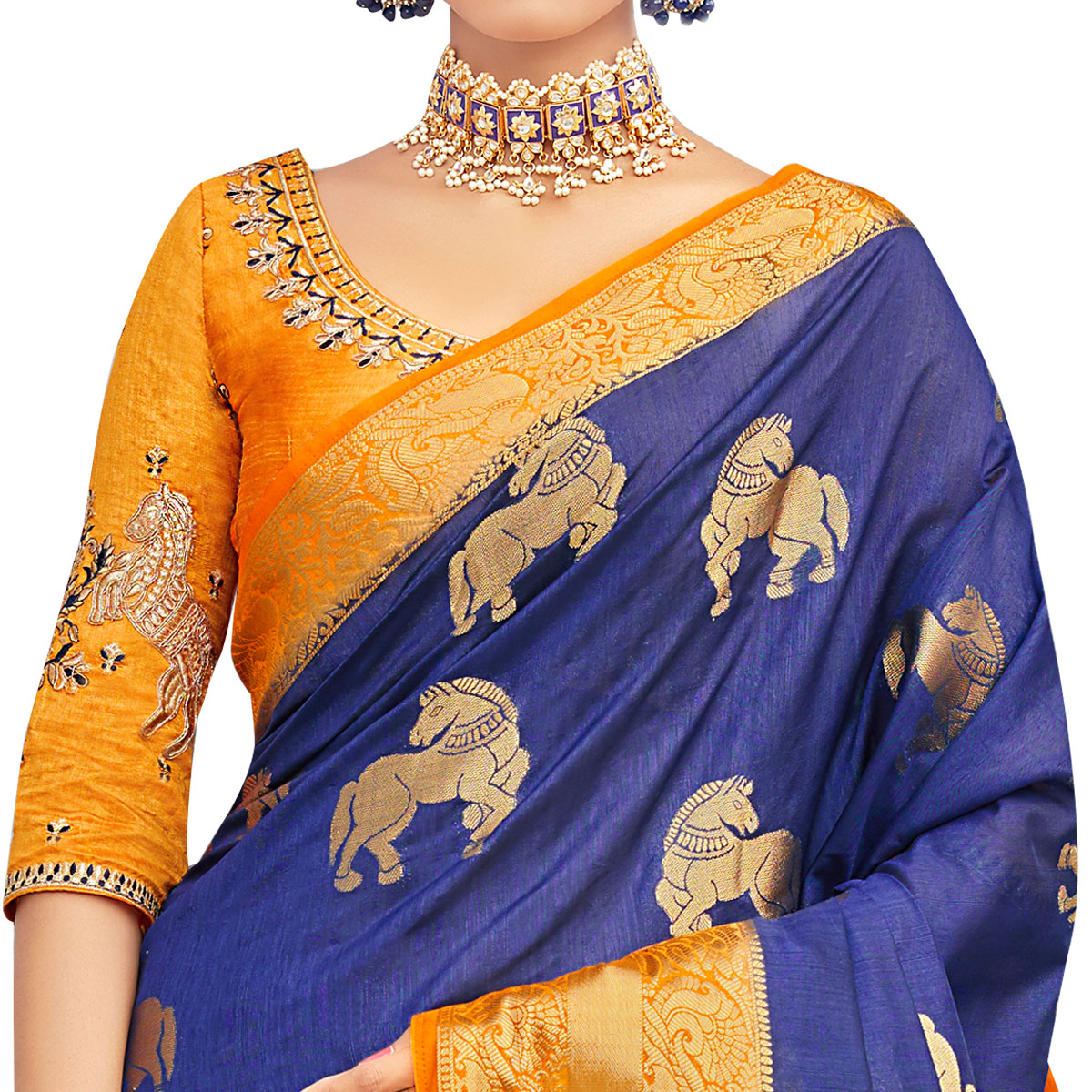 Blooming Blue-Orange Colored Party Wear Designer Embroidered Woven Banarasi Silk Saree