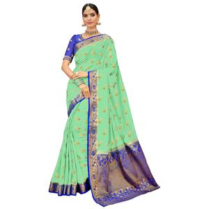 Dashing Green-Purple Colored Party Wear Designer Embroidered Woven Banarasi Silk Saree