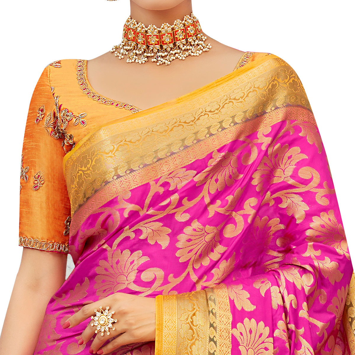 Graceful Pink-Yellow Colored Party Wear Designer Embroidered Woven Banarasi Silk Saree