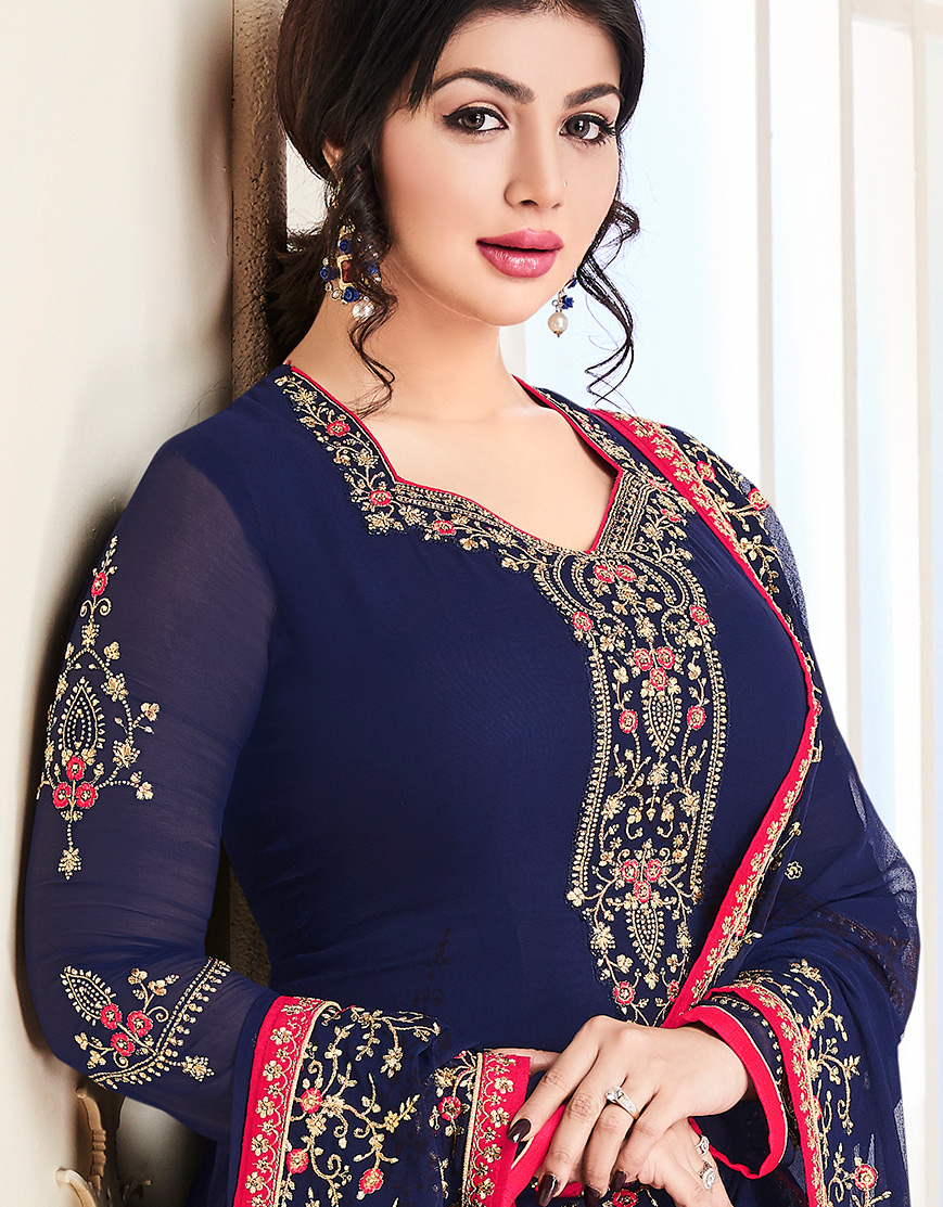 Blissful Blue Colored Party Wear Embroidered Georgette Suit