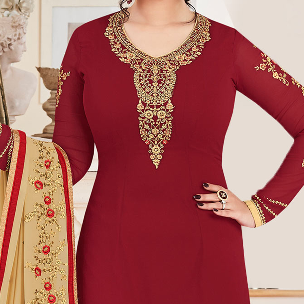 Majestic Maroon Colored Party Wear Embroidered Georgette Suit