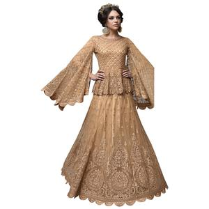 Arresting Beige Colored Partywear Designer Embroidered Netted Lehenga Choli