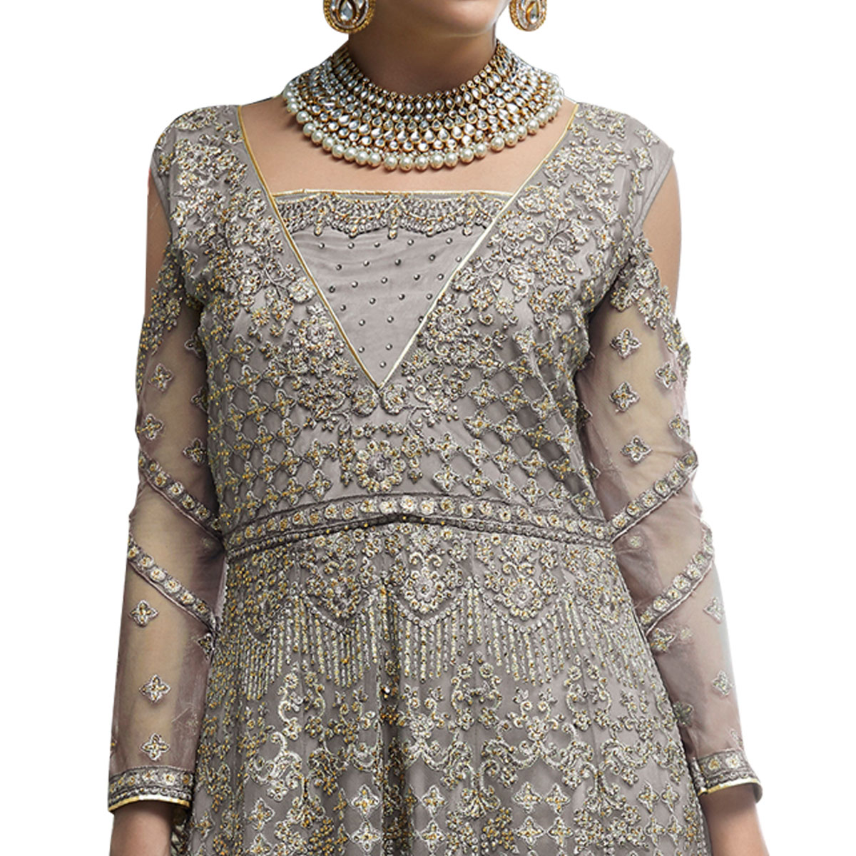 Hypnotic Gray Colored Partywear Designer Embroidered Netted Palazzo Suit