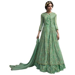 Exceptional Pista Green Colored Partywear Designer Embroidered Netted Anarkali Suit
