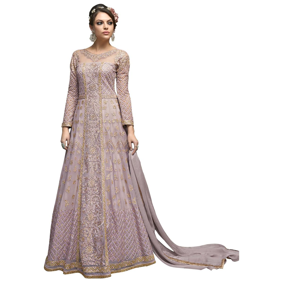 Excellent Lavender Colored Partywear Designer Embroidered Netted Anarkali Suit