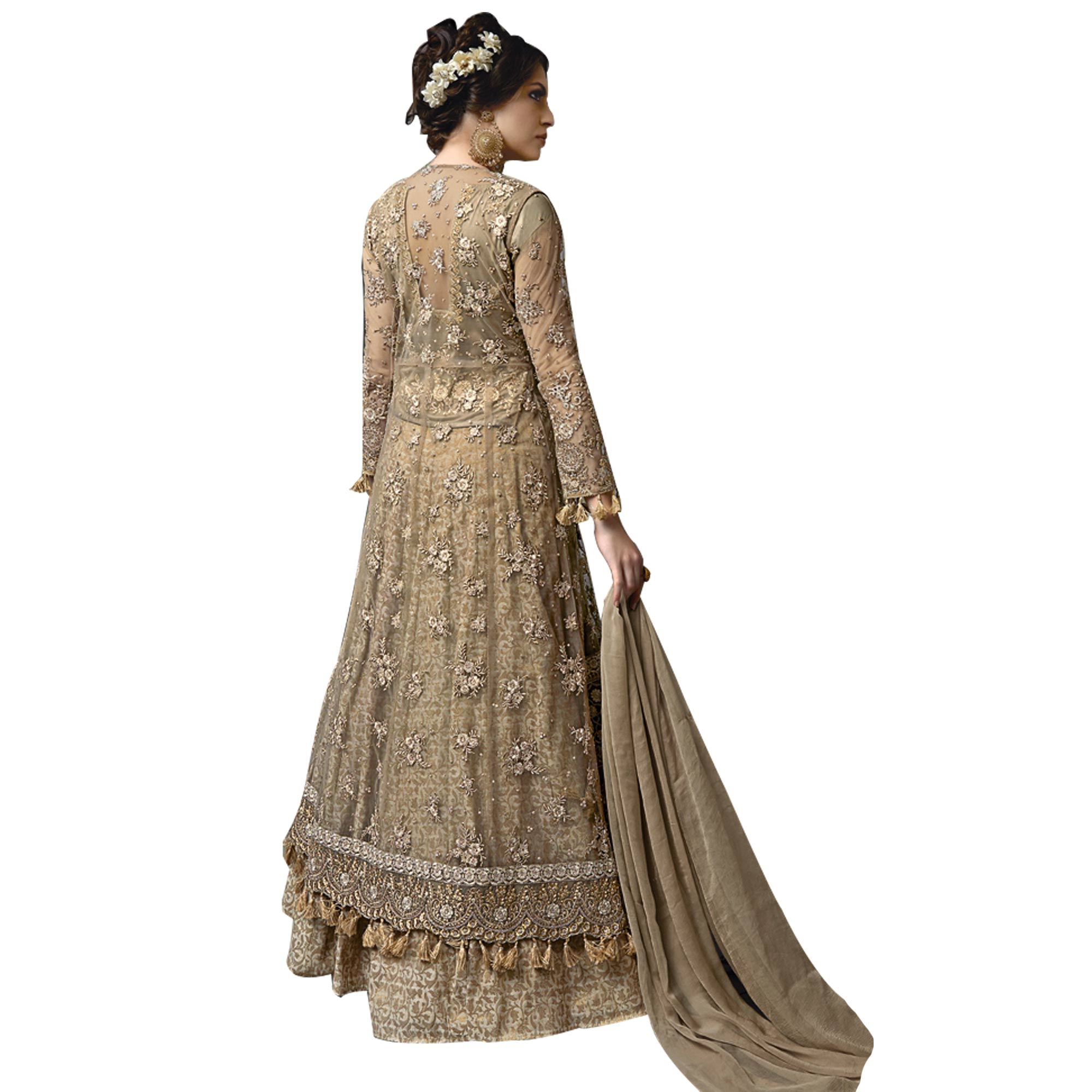 Chic Olive Green Colored Partywear Designer Embroidered Netted Koti Lehenga Choli