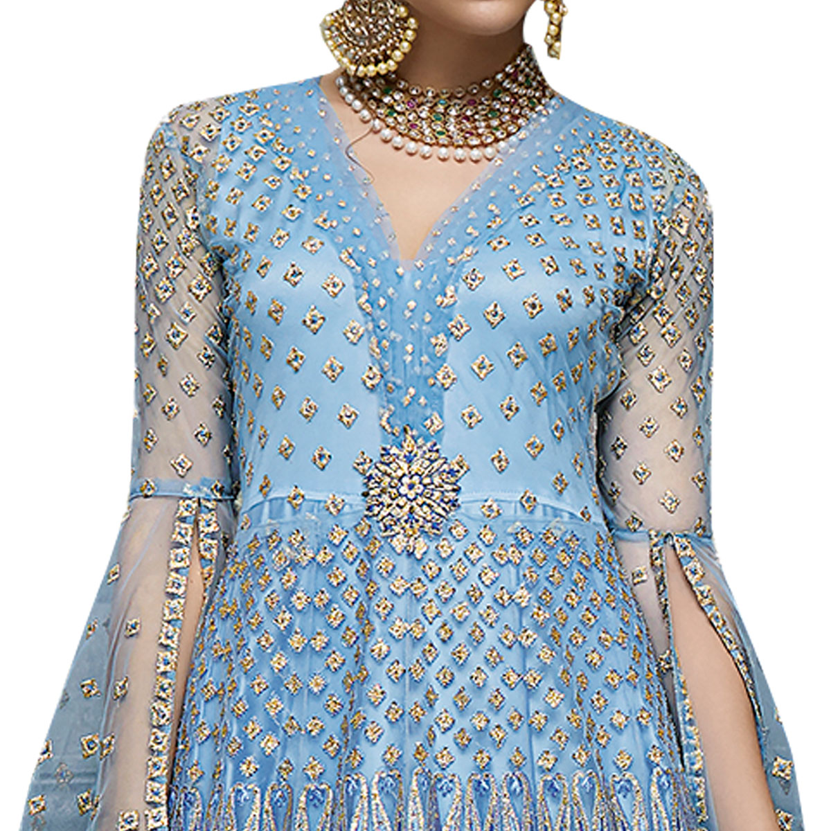 Glowing Blue Colored Partywear Designer Embroidered Netted Anarkali Suit